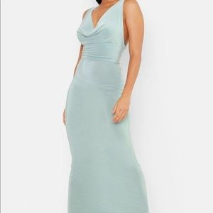 Boohoo Sage Cowl Neck Maxi Dress